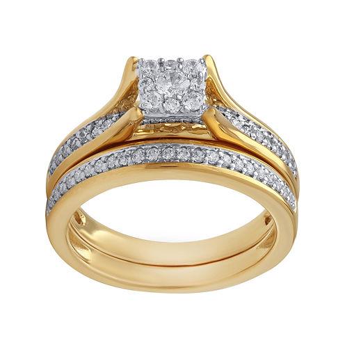 1/2 CT. T.W. Diamond 10K Two Tone Bridal Set