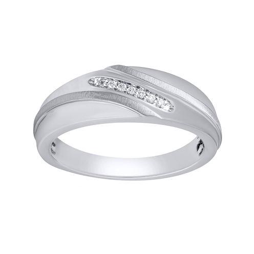 Mens 1/10 CT. T.W. Diamond 10K White Gold Wedding Band