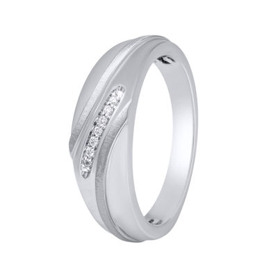 Mens 1/10 CT. T.W. Diamond 10K White Gold Wedding Band