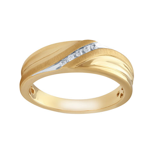 Mens Diamond Accent 10K Yellow Gold Wedding Band