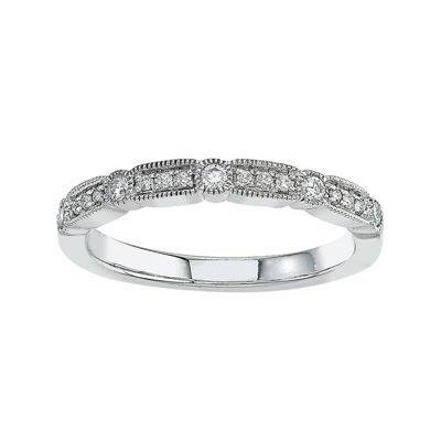1/6 Ct. T.w Diamond 10k White Gold Wedding Band