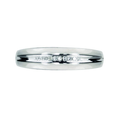 Mens Diamond Accent 10K White Gold Wedding Band