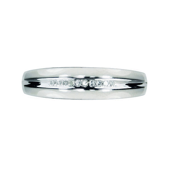Mens Diamond Accent 10k White Gold Wedding Band Jcpenney