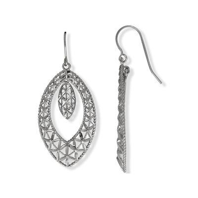 10K White Gold Marquis Drop Earrings