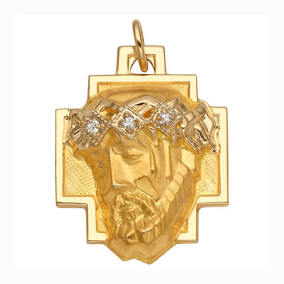 Religious Jewelry 14K Yellow Gold Diamond-Accent Christ Head Greek Cross Charm Pendant