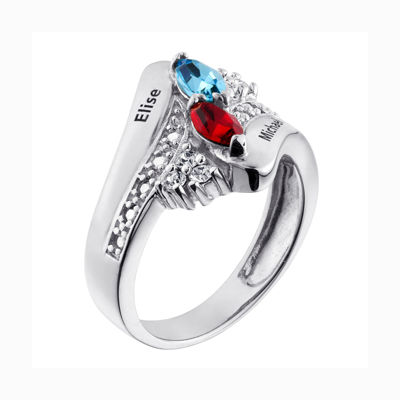 Personalized Couple's Name Marquise Birthstone Bypass Ring