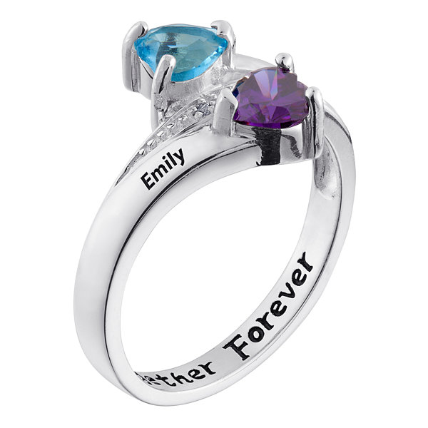 Personalized Couple's Name Heart Birthstone Bypass Ring