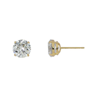 Diamonart® 10K Yellow Gold Cubic Zirconia .90 CT. T.W Round Stud Earrings