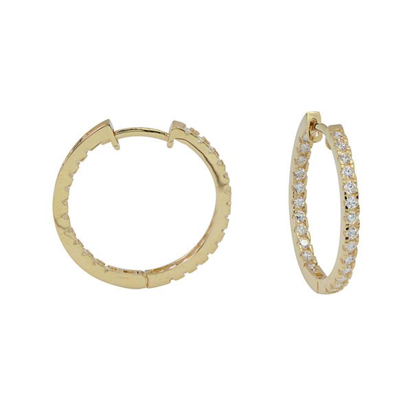 Diamonart® 10K Yellow Gold Cubic Zirconia 1 CT. T.W Oval Hoop Earrings