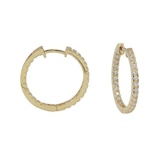 Diamonart® 10K Yellow Gold Cubic Zirconia 1 CT. T.W Oval Hoop Earrings