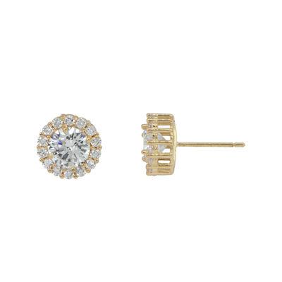 Diamonart® 10K Yellow Gold Cubic Zirconia 1.42 CT. T.W Round Halo Stud Earrings