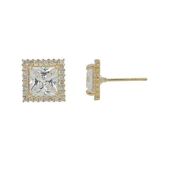 Diamonart® 10K Yellow Gold Cubic Zirconia 2.28 CT. T.W Princess Cut Halo Stud Earrings
