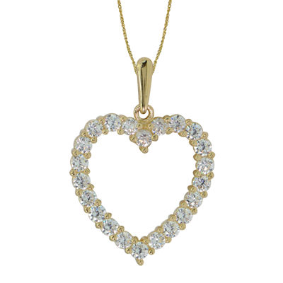 Diamonart® 10K Yellow Gold Cubic Zirconia 0.66 CT. T.W Heart Pendant