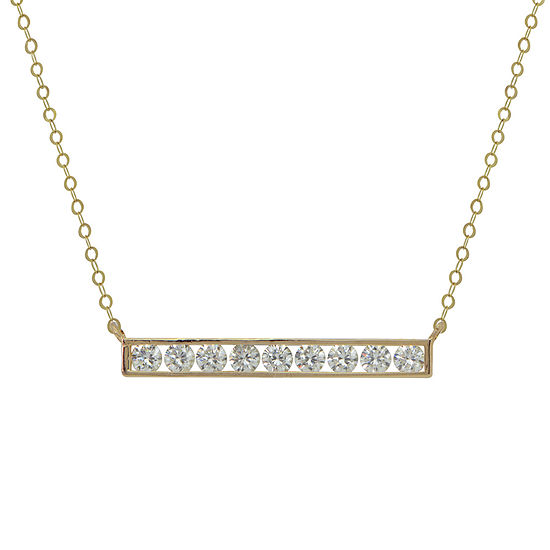 Petite Lux ™ 10K Cubic Zirconia Bar Necklace With Gold Filled Chain