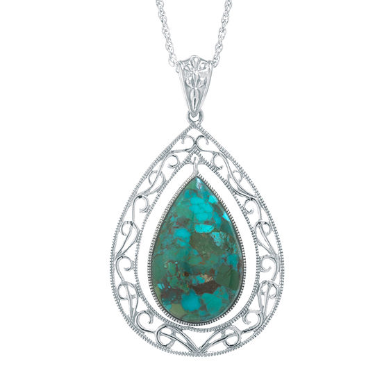 Enhanced Turquoise Filigree Sterling Silver Teardrop Pendant Necklace