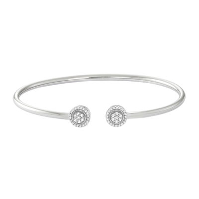 diamond blossom 1/4 CT. T.W. Diamond 14K Gold Over Silver Flex Bangle Bracelet