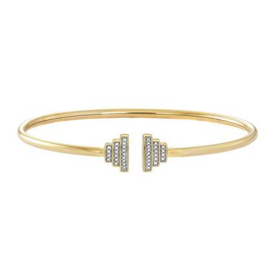 1/10 CT. T.W. Diamond 14K Gold Over Silver Flex Bangle