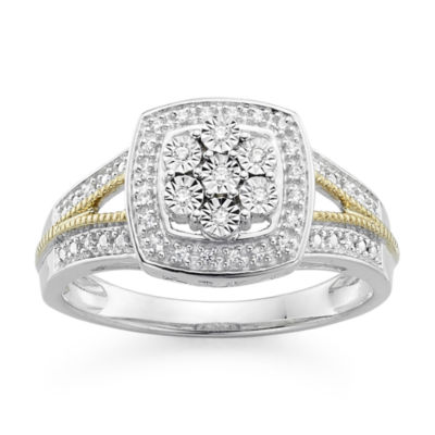 diamond blossom 1/10 CT. T.W.  Diamond Miracle Plate Cushion Sterling Silver with 14k Gold over Silver Accent Ring
