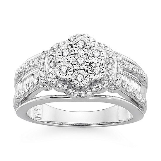 Diamond Blossom 1 2 Ct Tw Diamond Miracle Plate Sterling Silver Ring