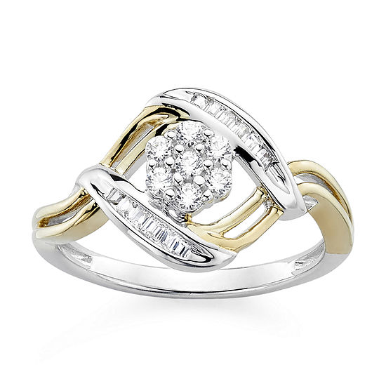diamond blossom 1/4 CT. T.W. Diamond Sterling Silver with 14k Gold over Silver Accent Ring