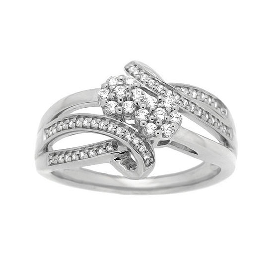 diamond blossom 1/3 CT. T.W. Diamond Sterling Silver Ring