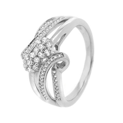 diamond blossom 1/3 CT. T.W. Diamond Sterling Silver Ring