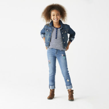 jcpenney.com | Long Sleeve Stripe Tee, Roll Cuff Jeans or Denim Jacket - Girls 7-16 and Plus