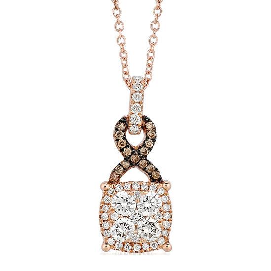 Grand Sample Sale™ by Le Vian® 1/2 CT. T.W. Vanilla Diamonds® & Chocolate Diamonds® 14K Strawberry Gold® Le Vian Chocolatier® Pendant Necklace