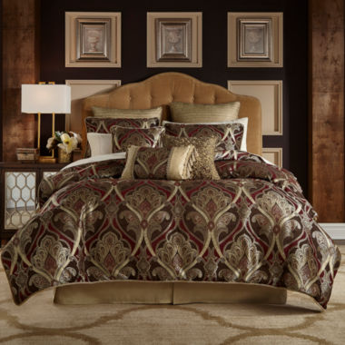 Croscill Classics Royal Red 4-pc. Damask + Scroll Reversible Comforter Set
