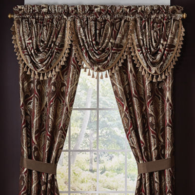 Croscill Classics Royal Red Rod-Pocket Waterfall Valance
