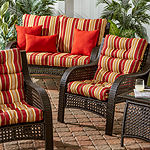 Greendale Home Fashions Stripe Outdoor High Back Chair Cushion