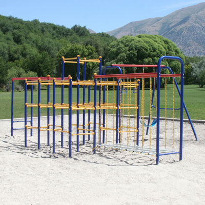 Skywalker Sports Jungle Gym Combo with Swing Set, Monkey Bars & Hanging Bridge