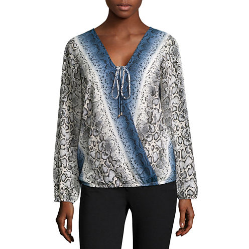Alyx® Long-Sleeve Wrap-Front Woven Top