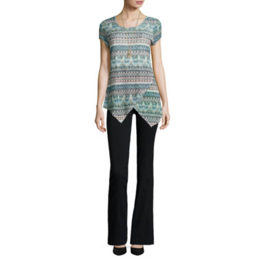 jcpenney.com | Alyx® Cap-Sleeve Tunic Top with Necklace or Straight-Leg Millennium Pants