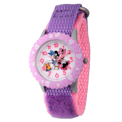 Disney Minnie Mouse Girls Purple Strap Watch-Wds000162