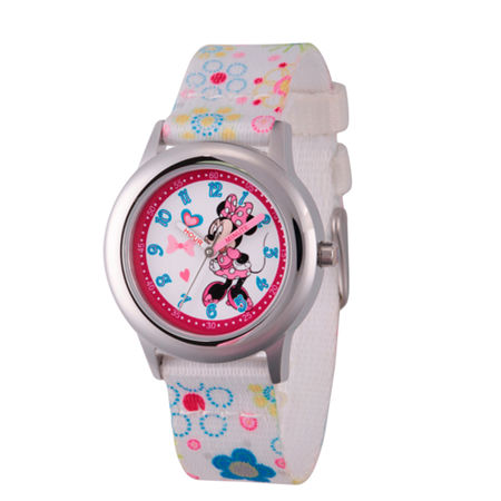 Disney Time Teacher Minnie Mouse Girls White Strap Watch-Wds000163, One Size , No Color Family
