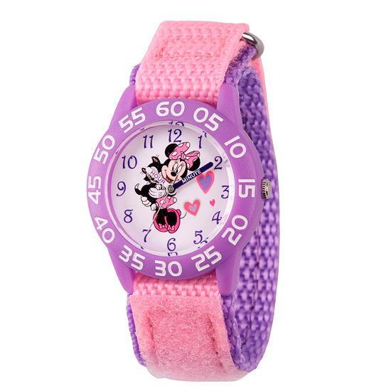 Disney Minnie Mouse Girls Pink Strap Watch-Wds000165
