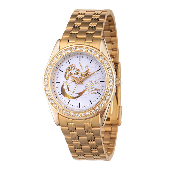 Disney The Little Mermaid Womens Gold Tone Stainless Steel Bracelet Watch - Wds000168