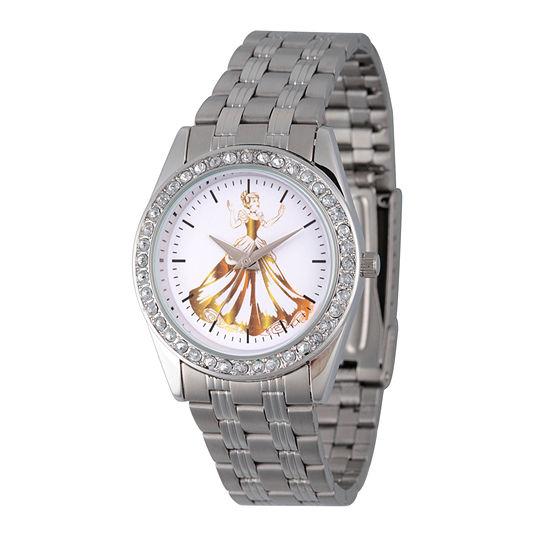 Disney Cinderella Womens Silver Tone Stainless Steel Bracelet Watch-Wds000169
