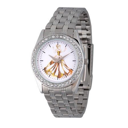 Disney Cinderella Womens Silver Tone Stainless Steel Bracelet Watch - Wds000169. One Size