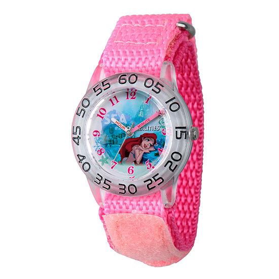 Disney The Little Mermaid Girls Pink Strap Watch-Wds000172