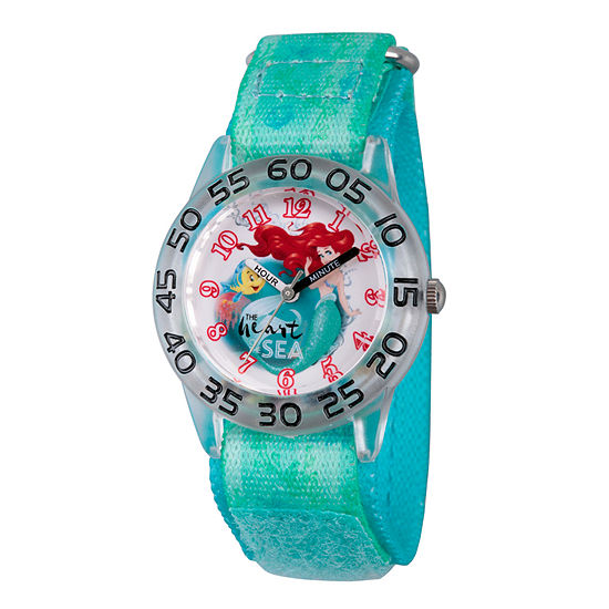 Disney Ariel The Little Mermaid Girls Green Strap Watch-Wds000173