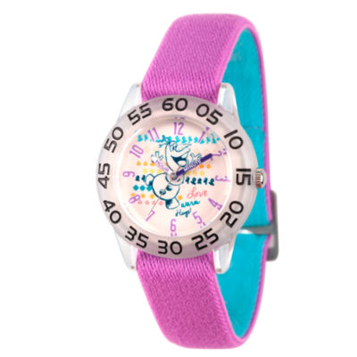 Disney Princess Olaf Frozen Girls Purple Strap Watch-Wds000175