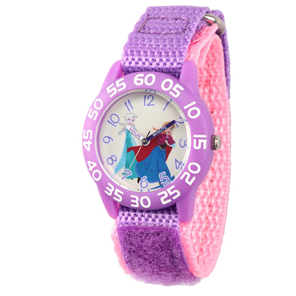 Disney Princess Anna And Elsa Frozen Girls Purple Strap Watch-Wds000176