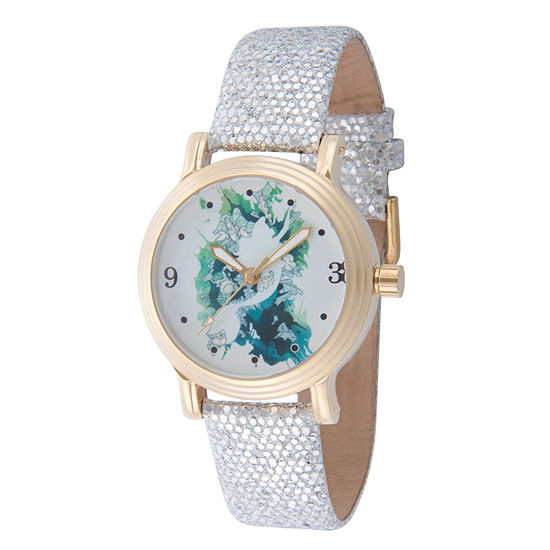 Disney The Little Mermaid Womens Silver Tone Leather Strap Watch-Wds000177