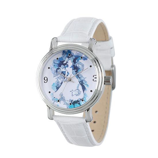 Disney Collection Cinderella Womens White Leather Strap Watch-Wds000179