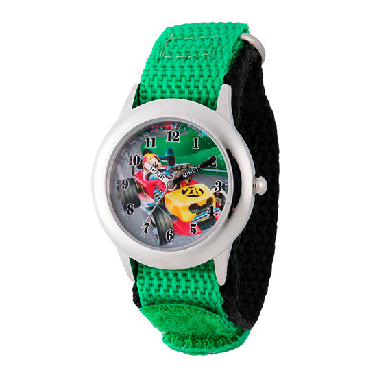 Disney Collection Mickey Mouse Boys Green Strap Watch-Wds000180