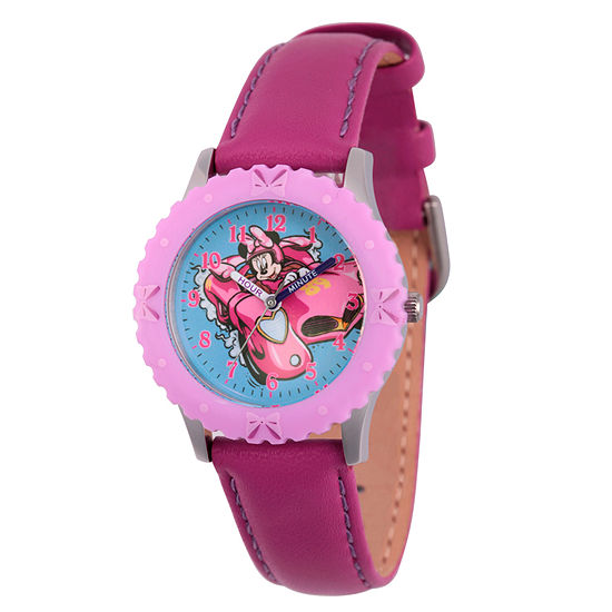 Disney Minnie Mouse Girls Purple Leather Strap Watch-Wds000183
