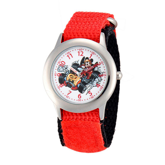 Disney Collection Mickey Mouse Boys Red Strap Watch-Wds000184