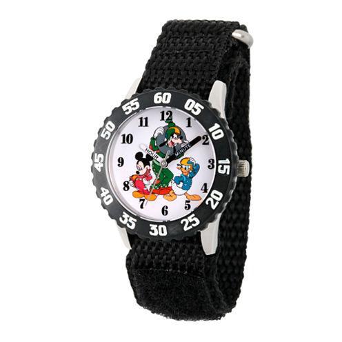 Disney Mickey Mouse Boys Black Strap Watch-Wds000186